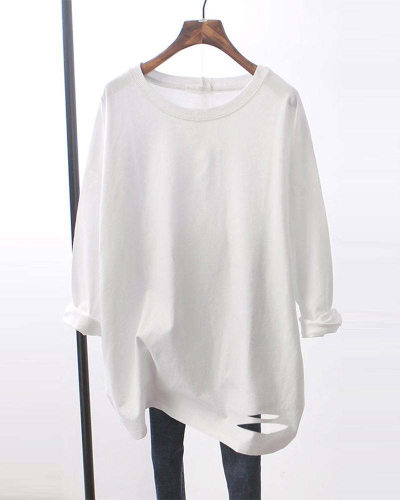 Solid Ripped Hem Long Sleeve Loose T-Shirts