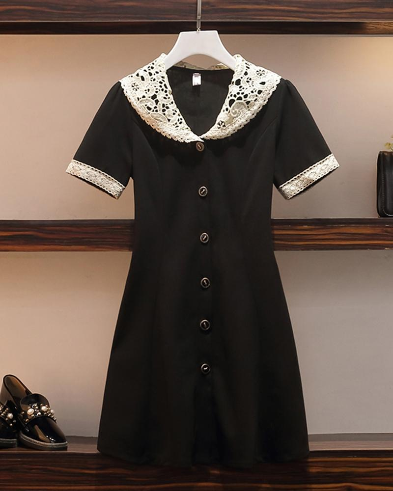 Lace Collar Button Front Dress