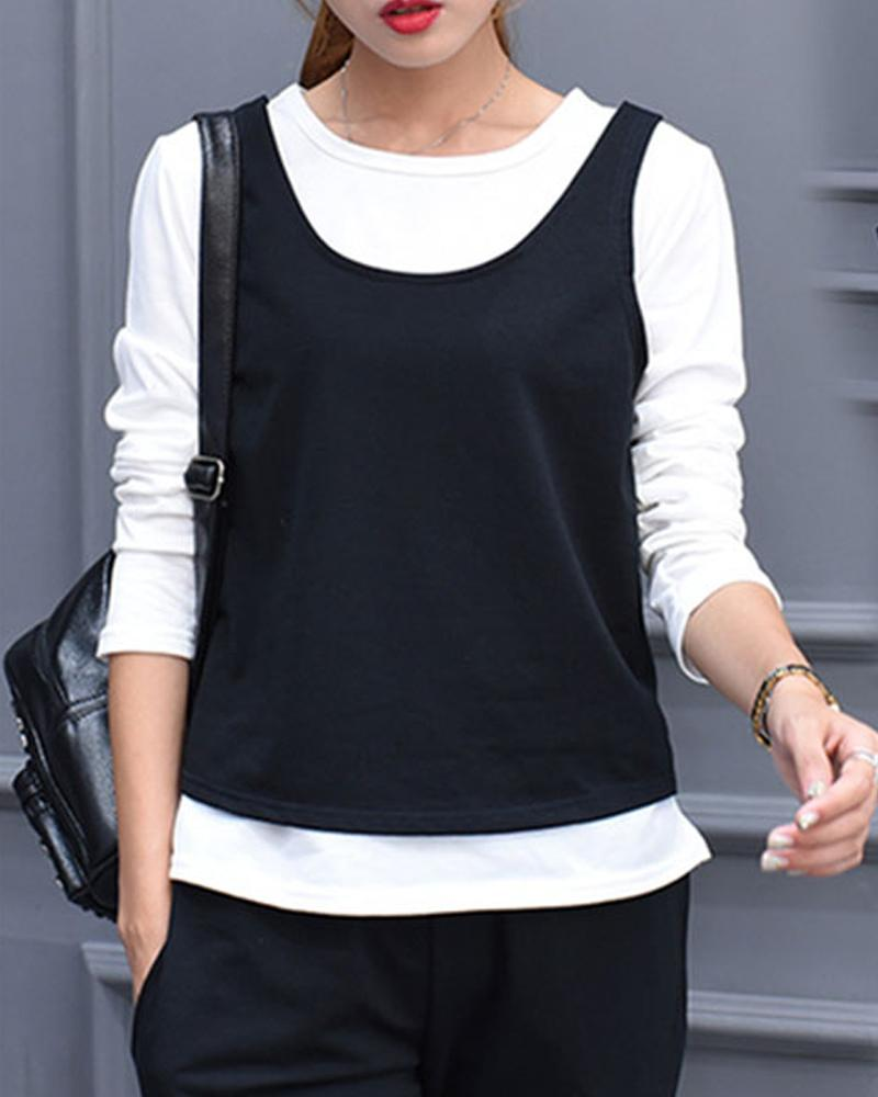 Solid Long Sleeve T-shirt With Tanks And Pants Suit Sets