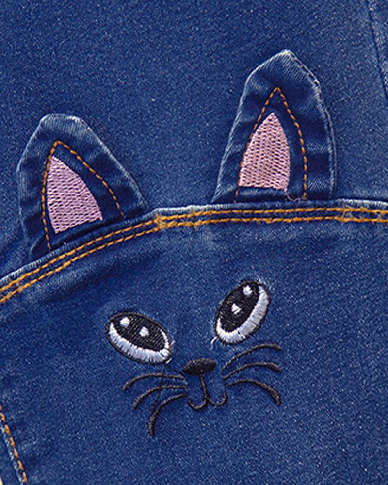 Solid Catty Embroidery Skinny Pencil Denim Pants