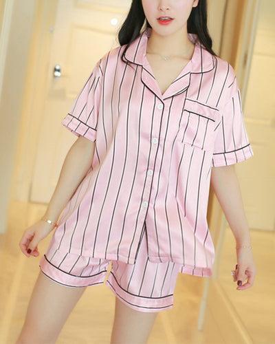 Striped Short Sleeve Loose Blouse With Shorts Pajamas Sets