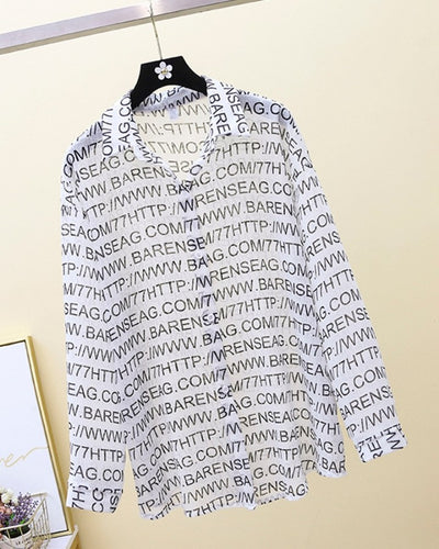 Letter Print Long Sleeve Button-up Blouse
