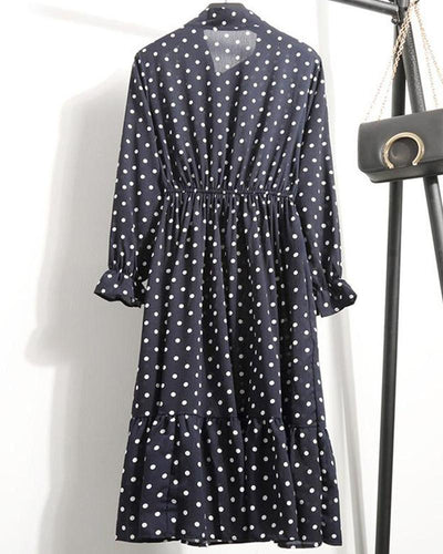 Polka Dot Pleated Maxi Dress
