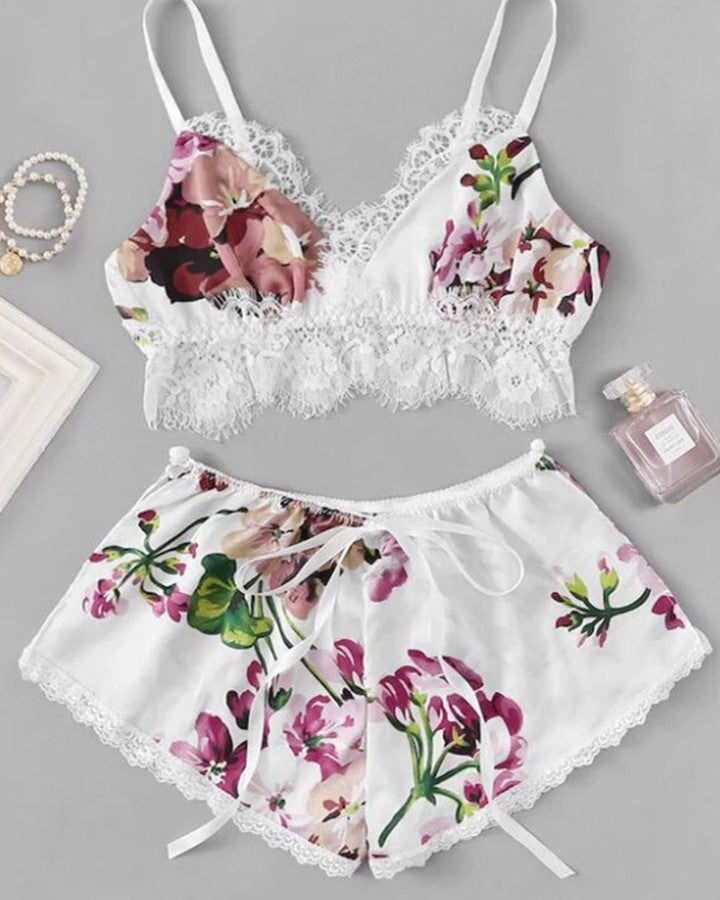 Floral Lace Trim Cami Set