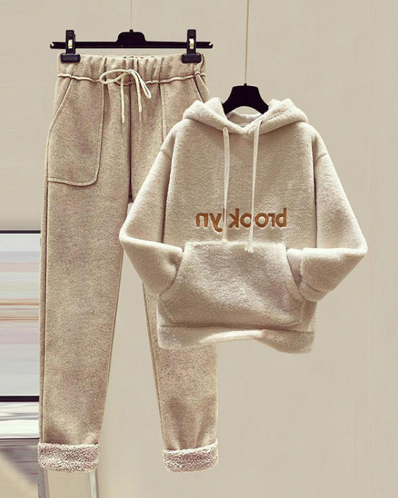 Letter Fluffy Hooded Top & Drawstring Pants Set