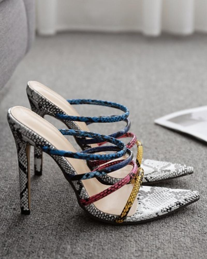 Multicolor Strap Snakeskin Heeled Sandals
