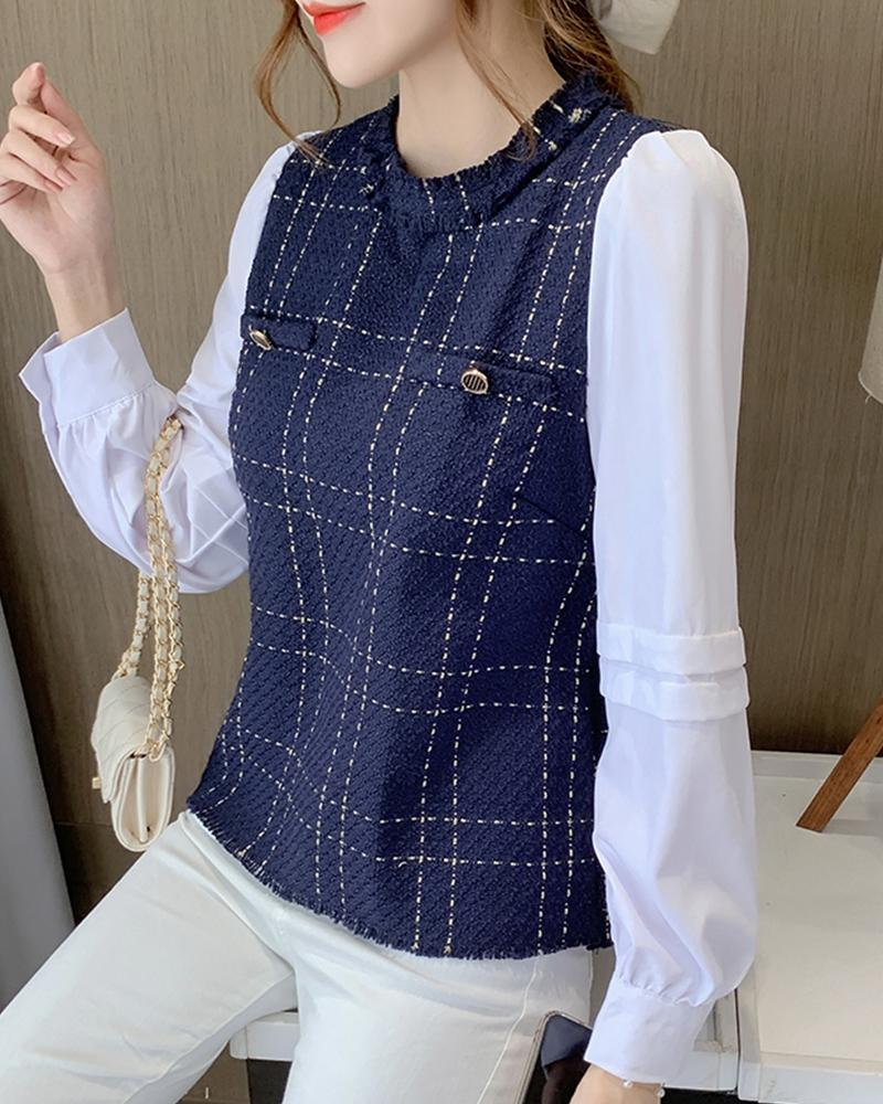 Stitching Plaid Long Sleeve Shirt