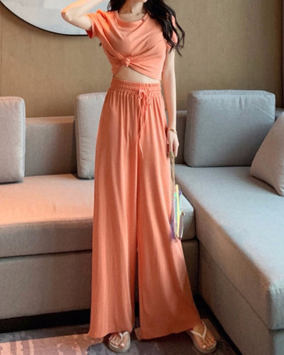 Solid Color Short Sleeve Crop Top And Baggy Pants Suit Sets