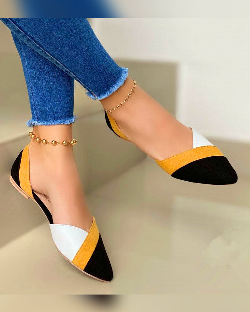 Pointed-toe Suede Color Block Slip-on