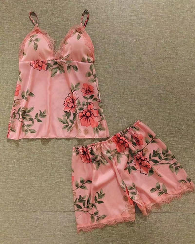 Satin Floral Tank Shorts Pajamas Sets