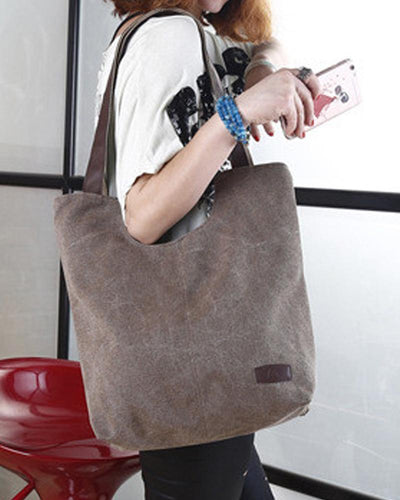 Solid Canvas Handbag Shoulder Bag