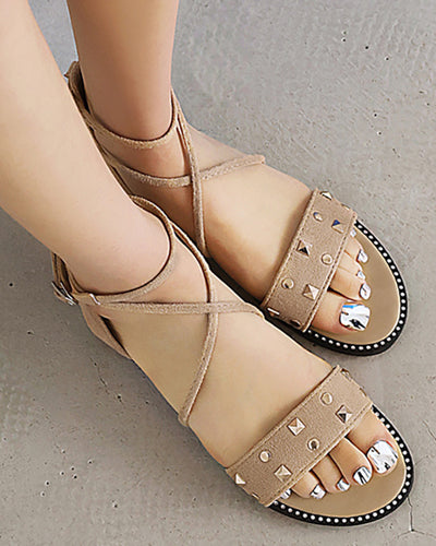 Solid Round-toe Studded Strap Flat Sandals