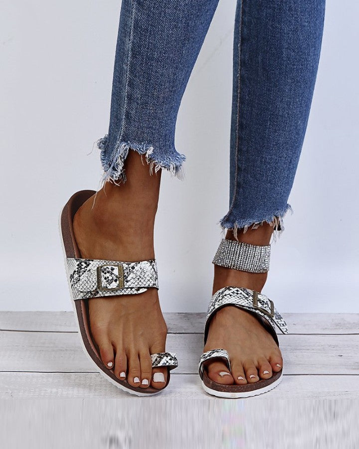 Snakeskin Platform Open-toe Sandals