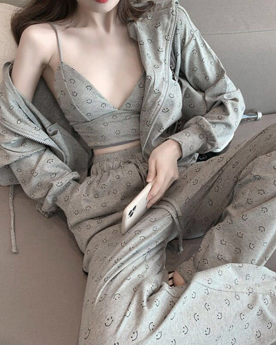 Patterns Print Long Sleeve Loose Coats With Tanks And Stripe-side Pants 3PCS Suit Sets