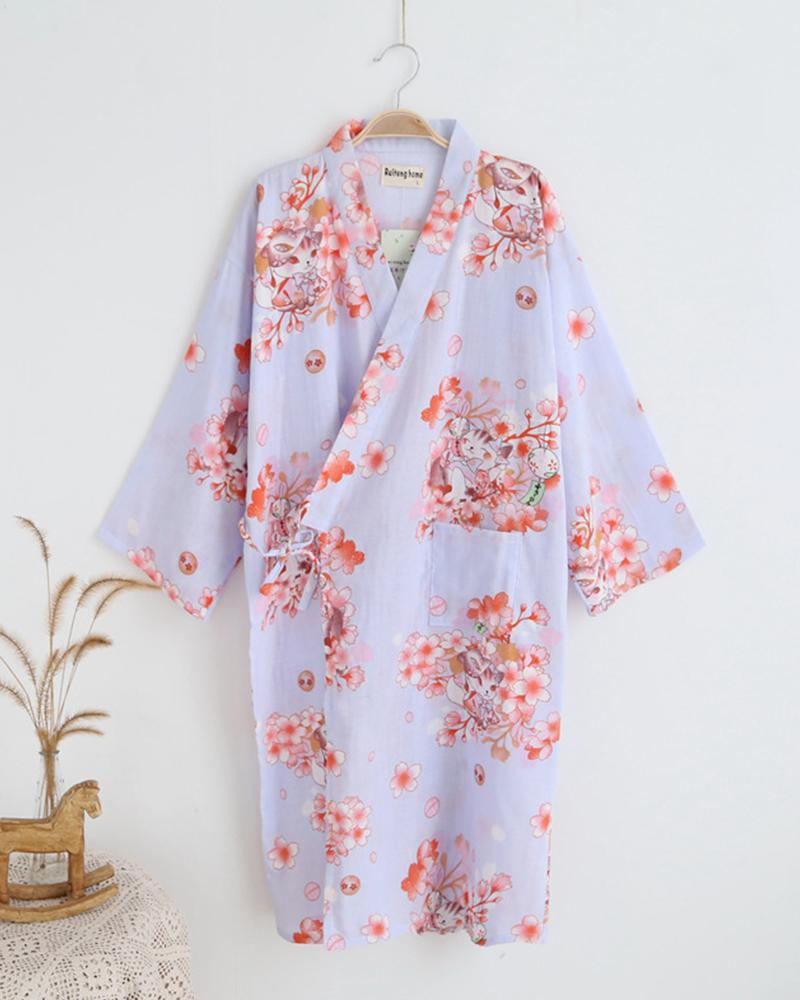Floral Double Layer Loose Nightgown Sleepshirt