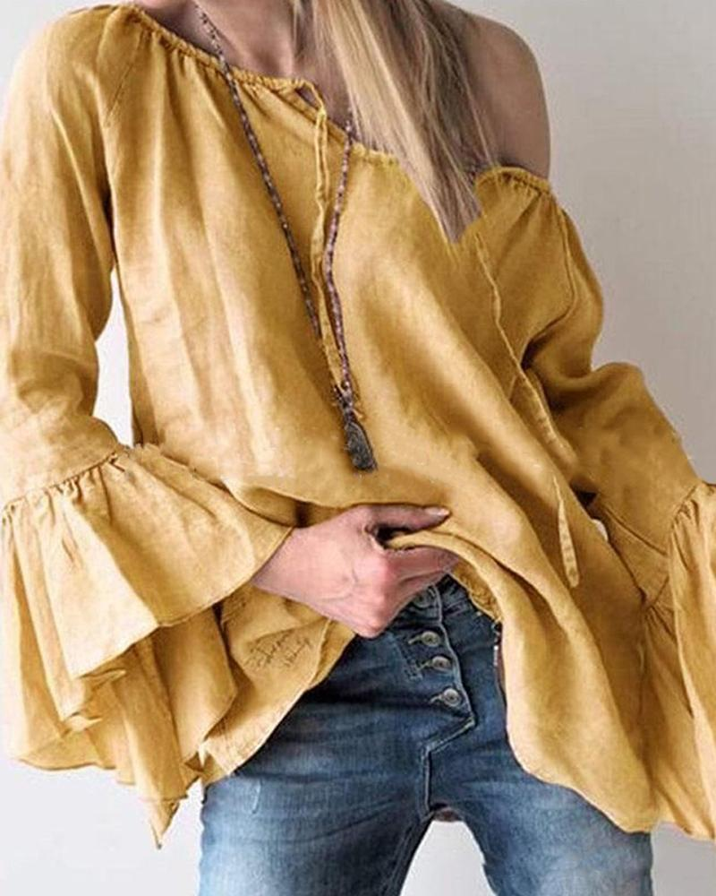 Solid Flare Sleeve Loose Tops Blouse