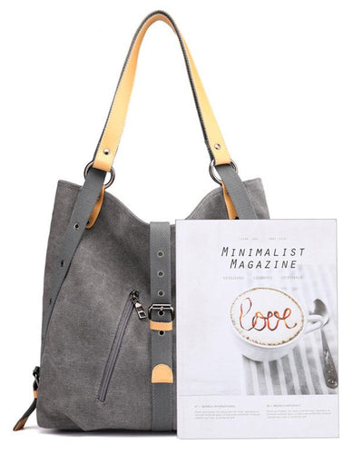 Brief Canvas Multi-functional Tote Handbag