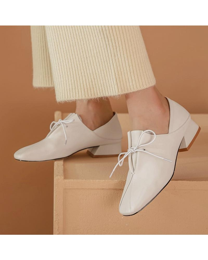 Solid Square Toes Heeled Oxford Shoes