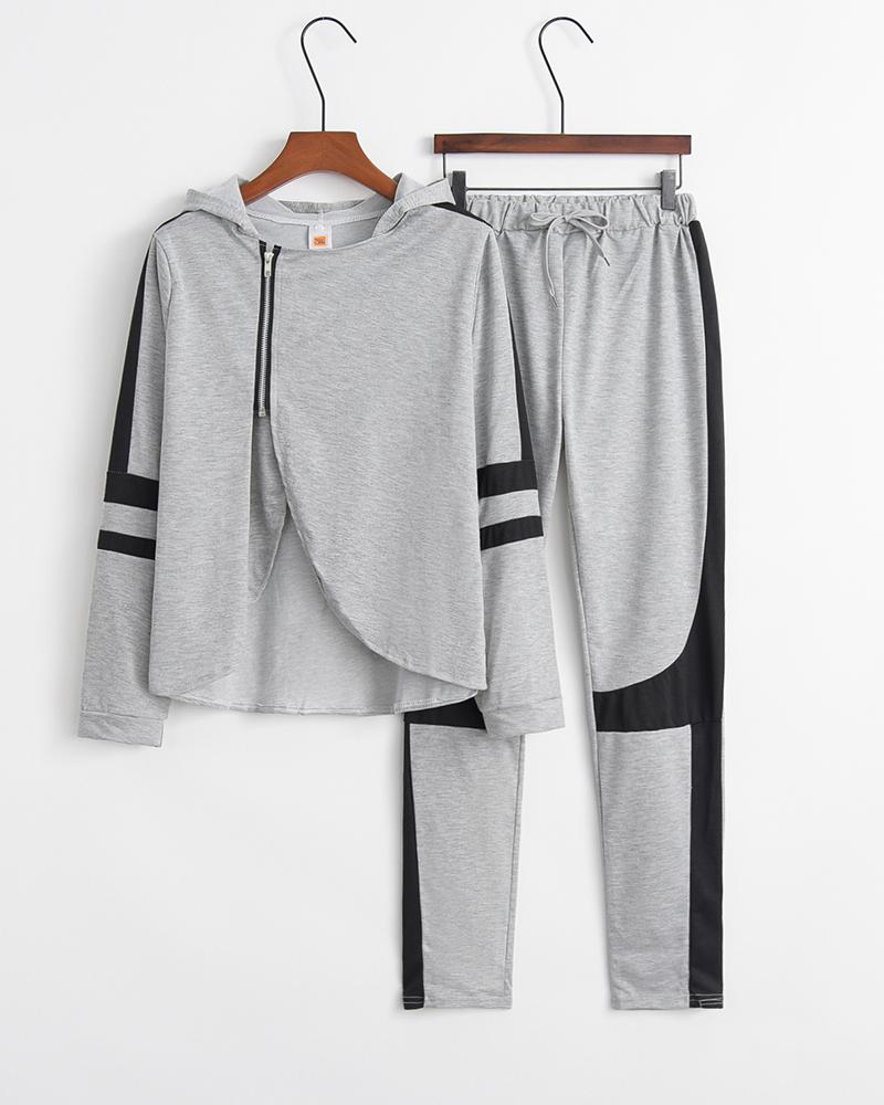 Colorblock Split Long Sleeve Loose Sweatshirts Suit Sets
