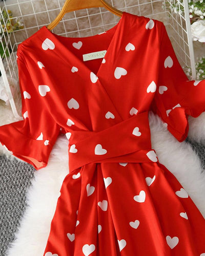Heart Print Fit & Flare Dress