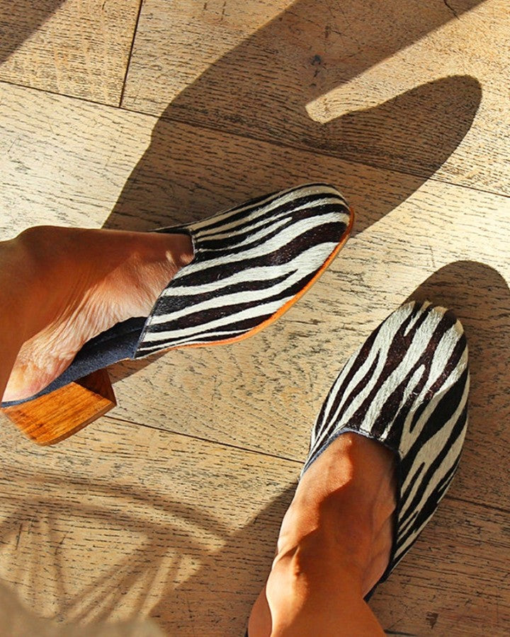 Round-toe Zebra Stripe Muller Shoes