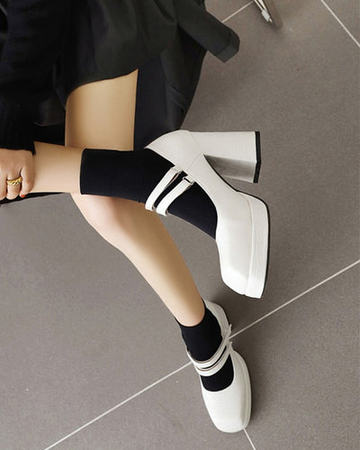 Square-toe Solid Color Crocodile Pattern Splicing Double-buckles Platform High Heels