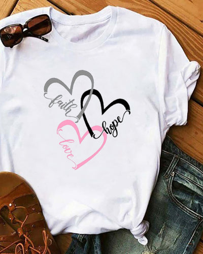 Heart Print Short Sleeve Casual T-Shirt
