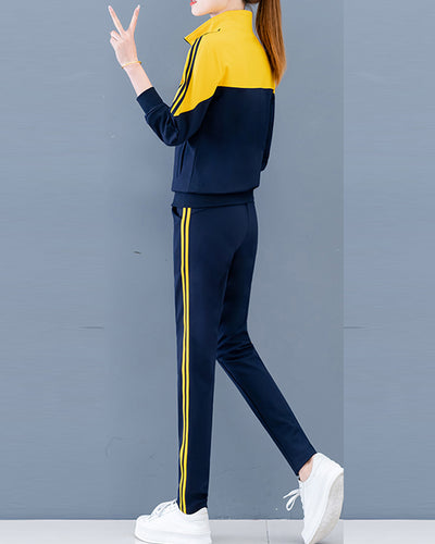 Colorblock Zip-up Long Sleeve Sweatshirt With Pants Suit Sets