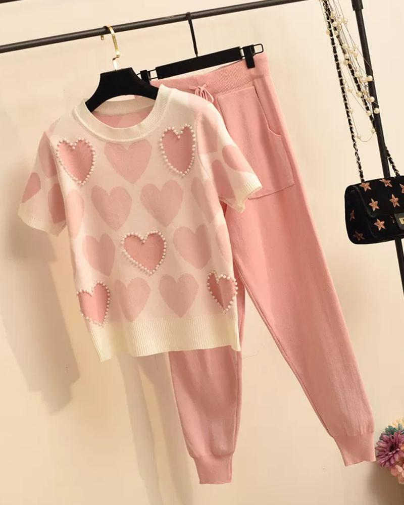 Heart Print T-Shirt & Pants