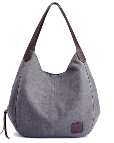 Brief Canvas Multi-compartment Tote Shoulder Bag