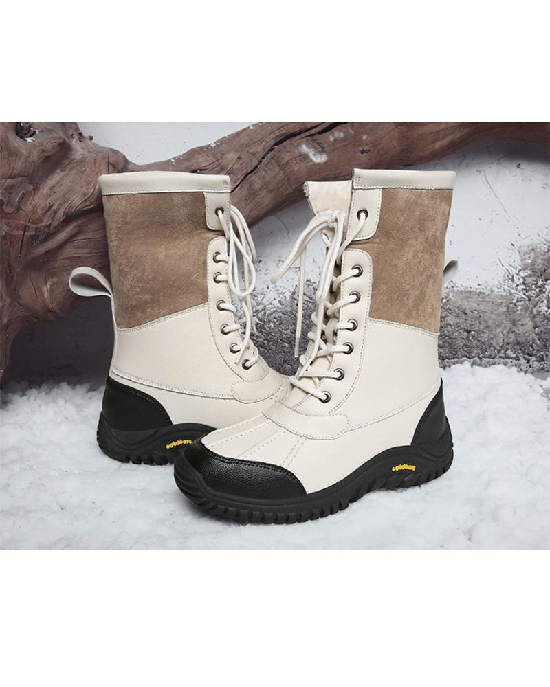 Splicing Color Block Lace-up Round-toe Snow Boots