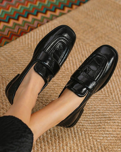 Square-toe Crocodile Pattern Solid Color Lacquered Leather Loafers