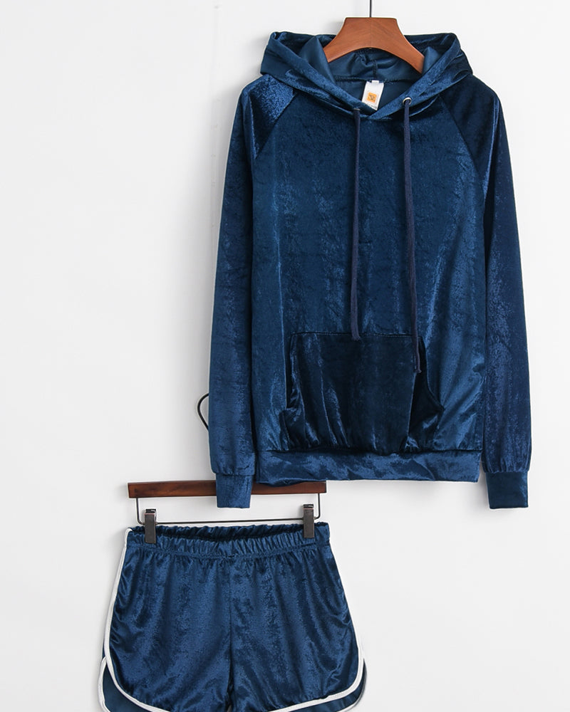 Solid Velvet Long Sleeve Loose Sweatshirts Shorts Suit Sets