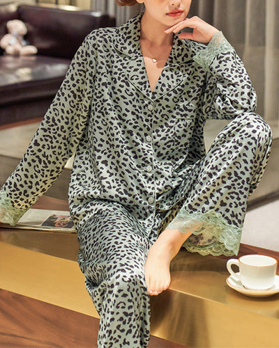 Cheetah Print Long Sleeve Button-up Blouse With Lace Contrast Pants Pajamas Sets