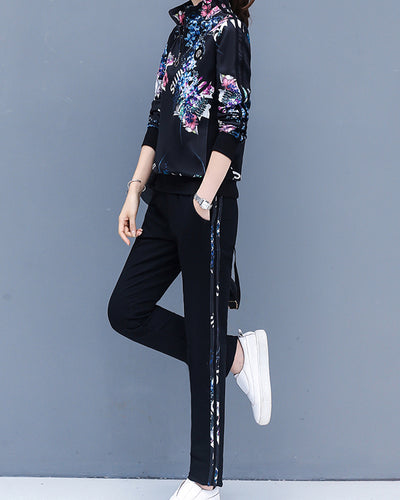 Floral Stripe-side Long Sleeve Coats With Pants Suit Sets