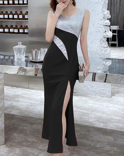 Colorblock Sequin Sleeveless Slit Long Dress