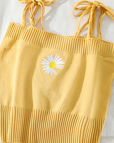 Daisy Embroidery Cami Top
