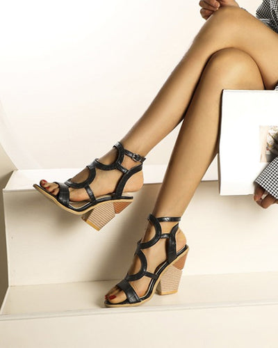 Snakeskin Cut-out Open-toe Wedge Shoes Sandals