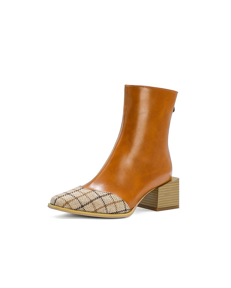 Colorblock Block Heel Square-toe Ankle Boots