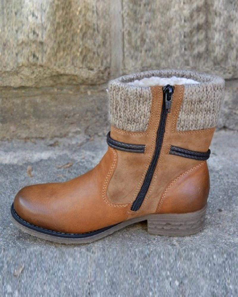 Stitching Solid Color Rounted-toe Martin Boots