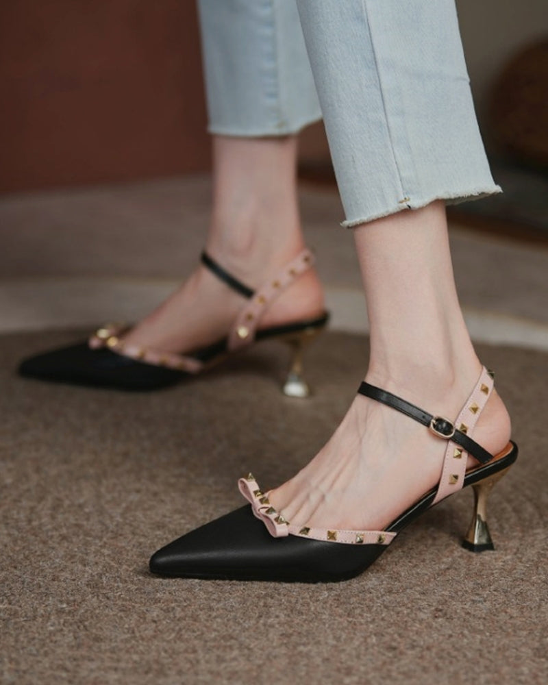 Studded Bowknot Patchwork Pointed-toe High Heel Sandals