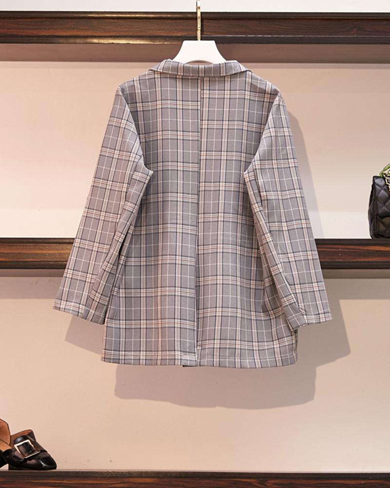 Plaid Long Sleeve Loose Suit Coat