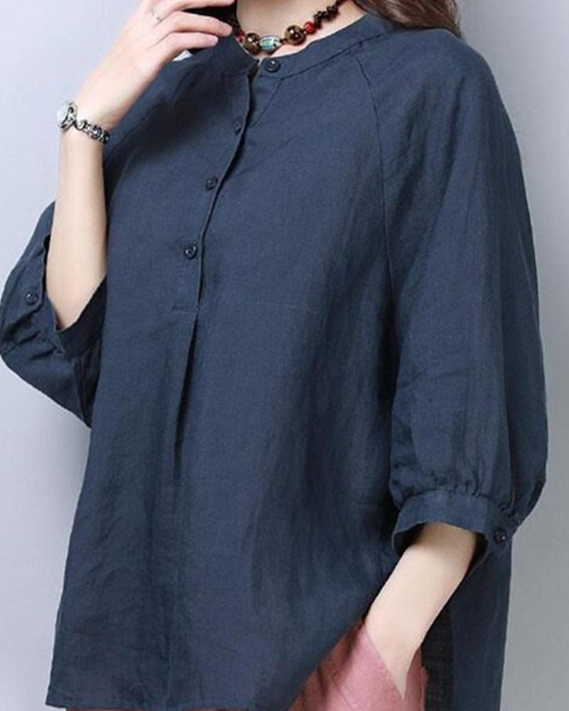 Solid Loose Half Sleeve Blouse