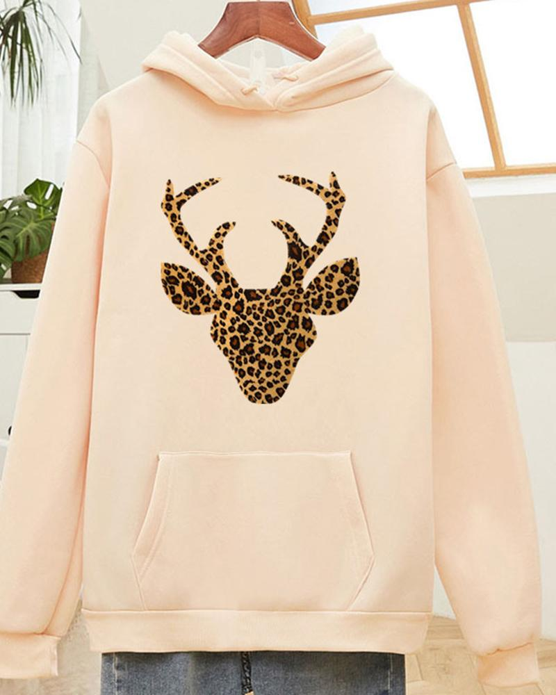 Printing Long sleeve Loose Hooded Sweatshirt