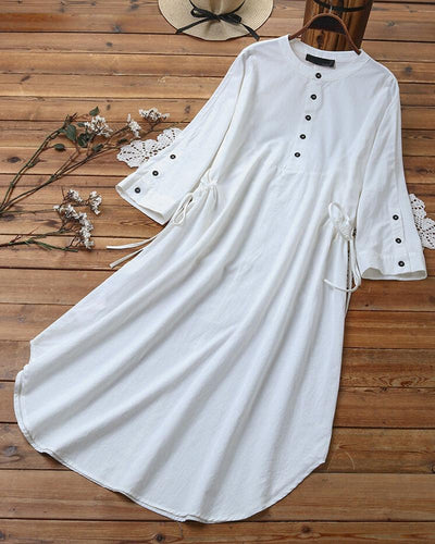 Solid Color Skinny Waist 3/4 sleeve Dress