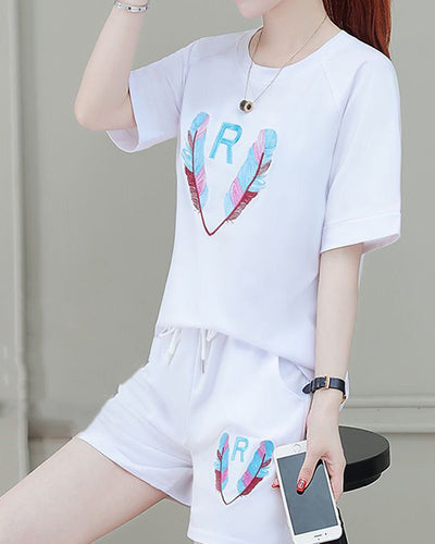 Logo Print Short Sleeve T-shirts With Shorts Suit Sets