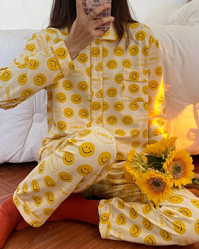 Smile Face Print Long Sleeve Button-up Blouse With Pants Pajamas Sets