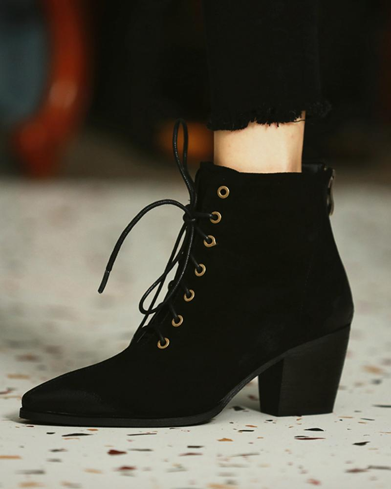 Pointed-toe Lace-up Solid Color Martin Boots