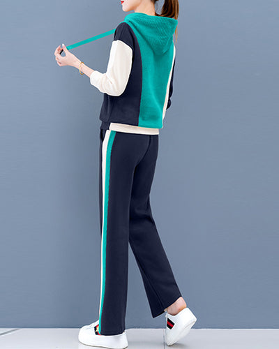 Colorblock Long Sleeve Coats With Pants Suit Sets