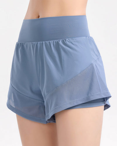 Solid Color High Waist Sport Short Pants With Pockets